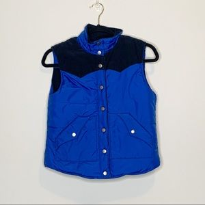 Roxy Blue Button Up Reversible Puffer Vest Small